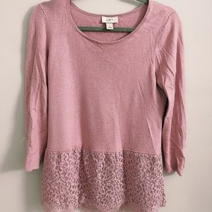 Loft Pink Lace Sweater